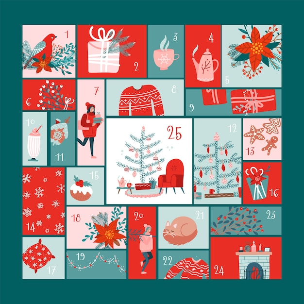 Square advent calendar with christmas elements  in flat hygge style Premium Vector