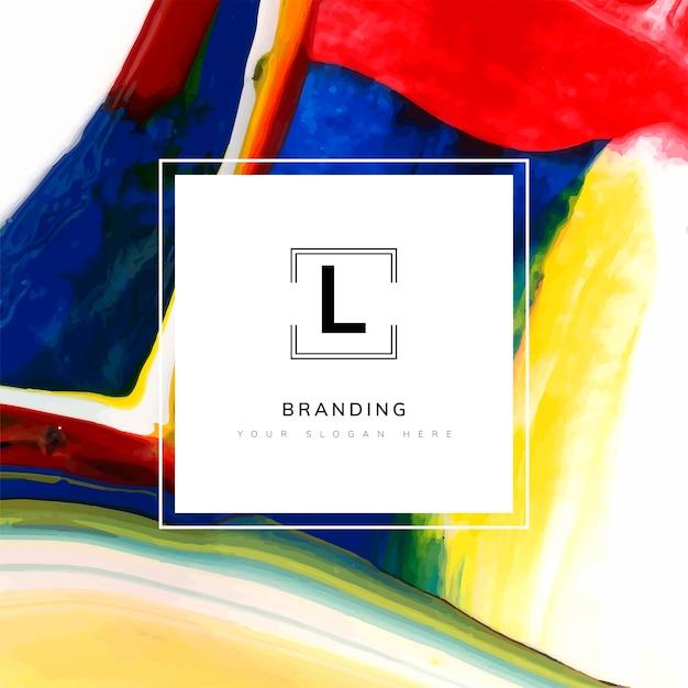 Square artistic branding template Free Vector