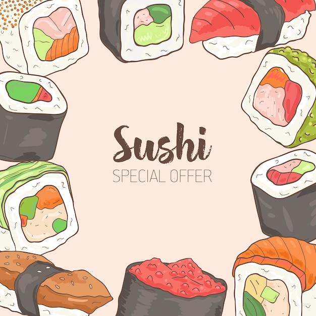フレームと正方形の背景は、さまざまな種類の日本の寿司とロール手描きから成っていました。特別なオファー。 Premiumベクター