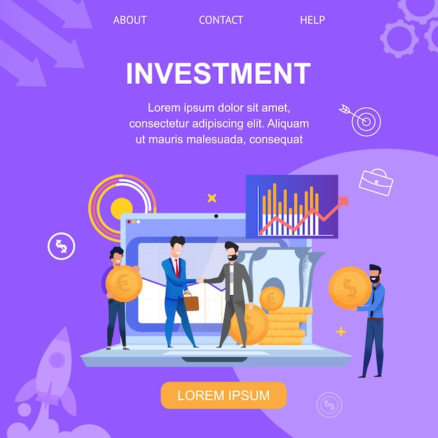 Square banner investment landing page Premium Vector