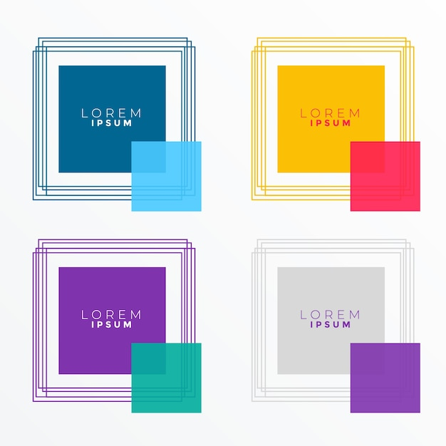 square banners in many colors Free Vector