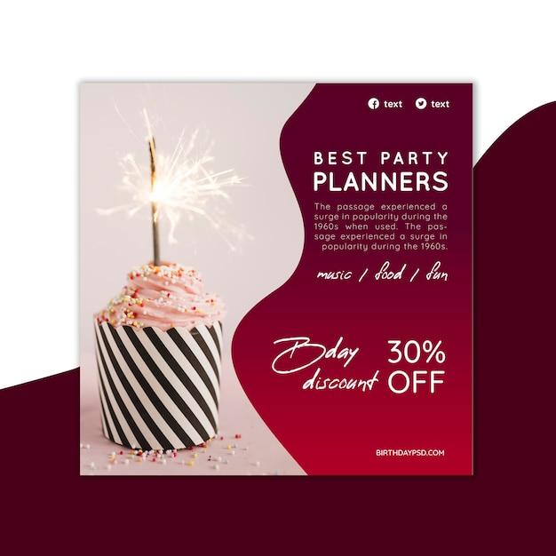 Квадратный шаблон флаера на день рождения Premium векторы