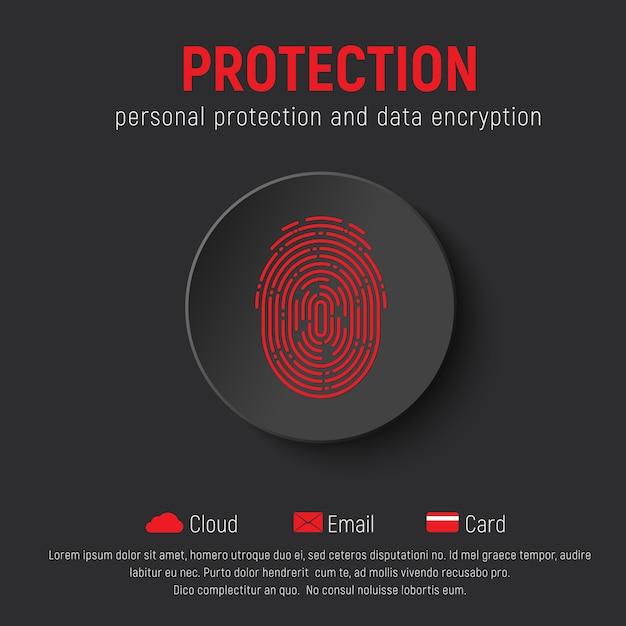Квадратный черный баннер с круглой кнопкой и красным отпечатком пальца. шаблон для веб-сайта по защите личной информации. Premium векторы