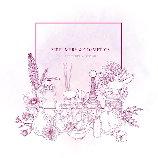 Square border decorated with perfume or toilet water in glass flasks and blooming flowers drawn with pink contour lines on white background. Premium Vector