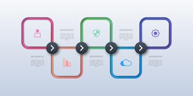 Square business infographic Premium Vector
