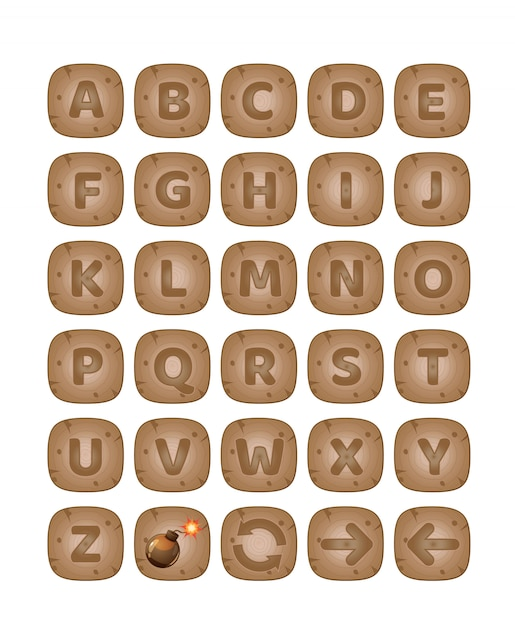 Square buttons wood a-z alphabet words game  Vector