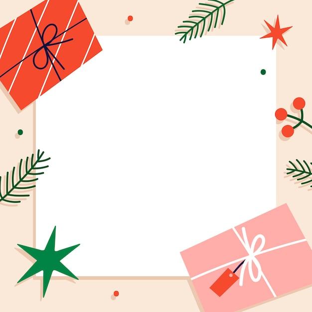 인사말 카드에 대 한 사각형 크리스마스 배경 무료 벡터