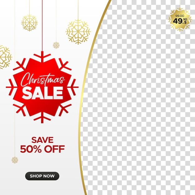 Square christmas sale banner for web, instagram and social media with empty frame Premium Vector