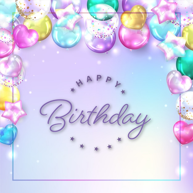 Square colorful balloons background for birthday card Free Vector