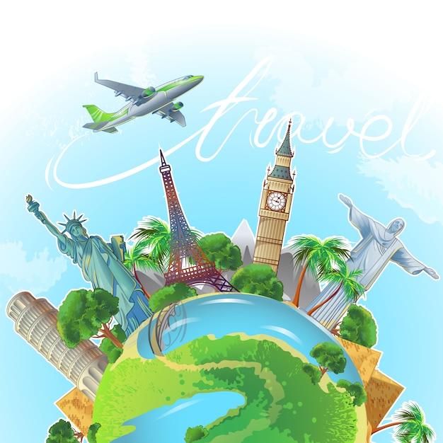 Квадратная концептуальная композиция с земным шаром с огромными достопримечательностями, башнями, статуями, деревьями и самолетом Бесплатные векторы
