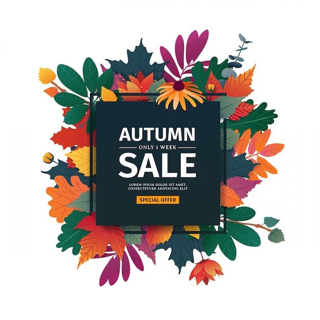 Квадратный дизайн баннера с осенней распродажей логотип. дисконтная карта на осенний сезон с белой рамкой и травами. Premium векторы