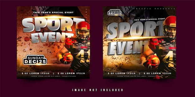Square flyer or banner design vector sport event football soccer with simple layout Premium Vector