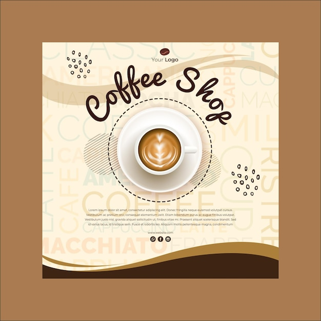 Square flyer for coffee shop Free Vector