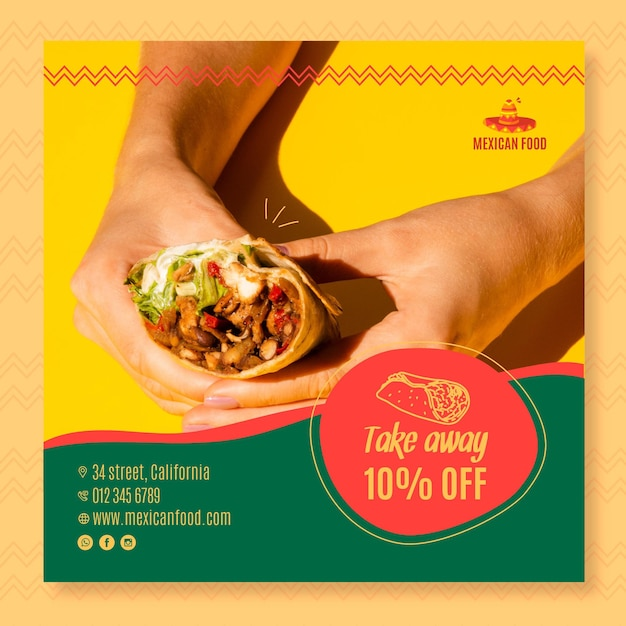 Square flyer for mexican food restaurant Premium Vector