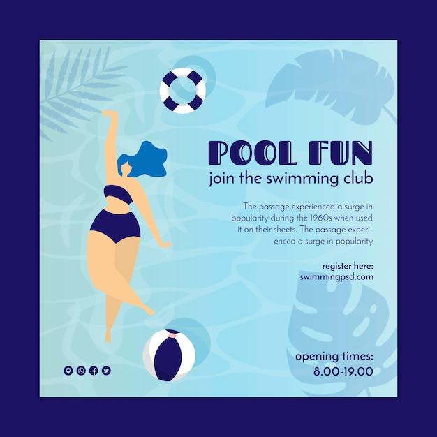 Volantino quadrato per piscina club Vettore gratuito