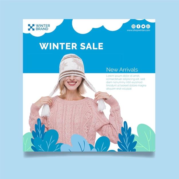 女性との冬の販売のための正方形のチラシテンプレート 無料ベクター