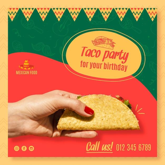 Modello di volantino quadrato per ristorante di cucina messicana Vettore gratuito