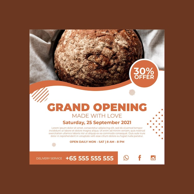 Square flyer template for pastry shop Free Vector