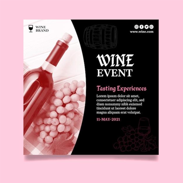 Modello di volantino quadrato per degustazione di vini Vettore gratuito