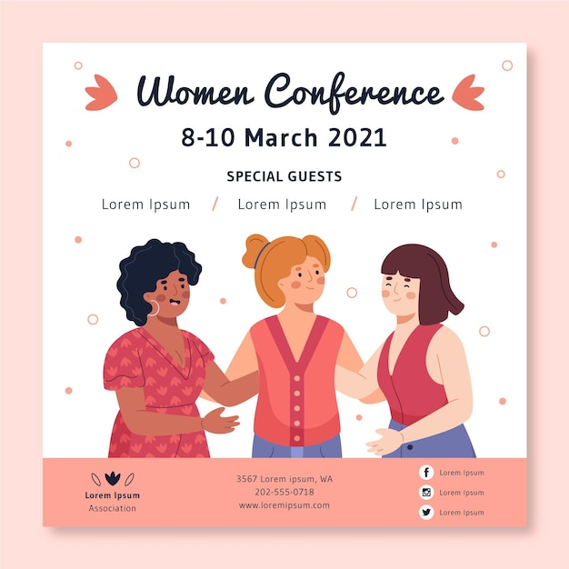 Square flyer template for women conference Free Vector