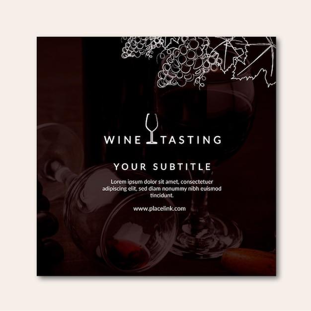 Квадратный флаер для дегустации вин Бесплатные векторы
