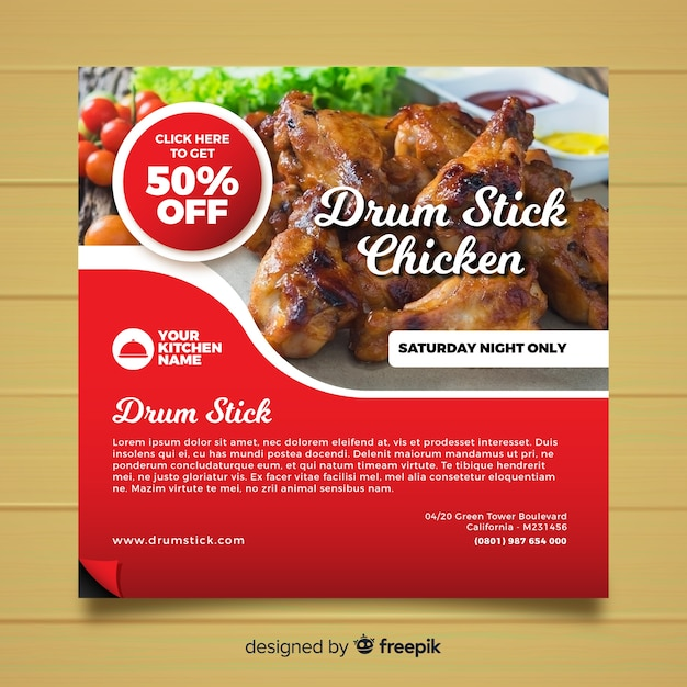 Square food banner with photo Free Vector