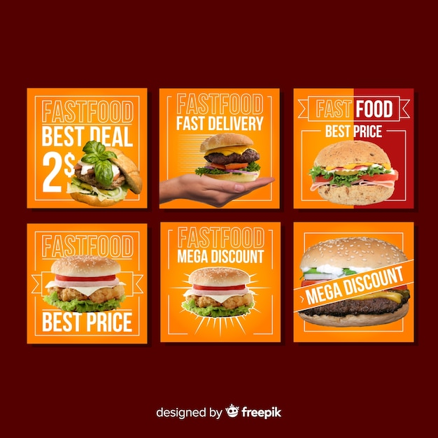 Square fool sale banner with photo pack Free Vector
