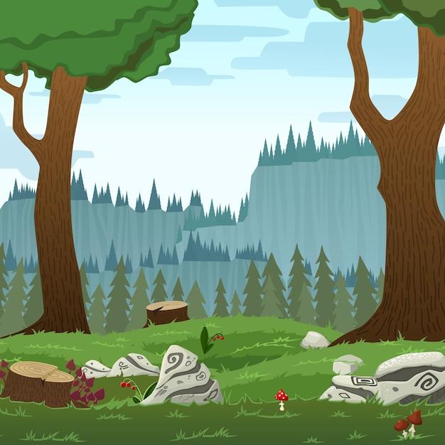 Landscape Illustration Vector Free: Square Forest Landscape Vector Cartoon Illustration Vector