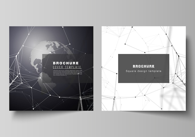 Square format covers design templates for brochure, flyer. Premium Vector