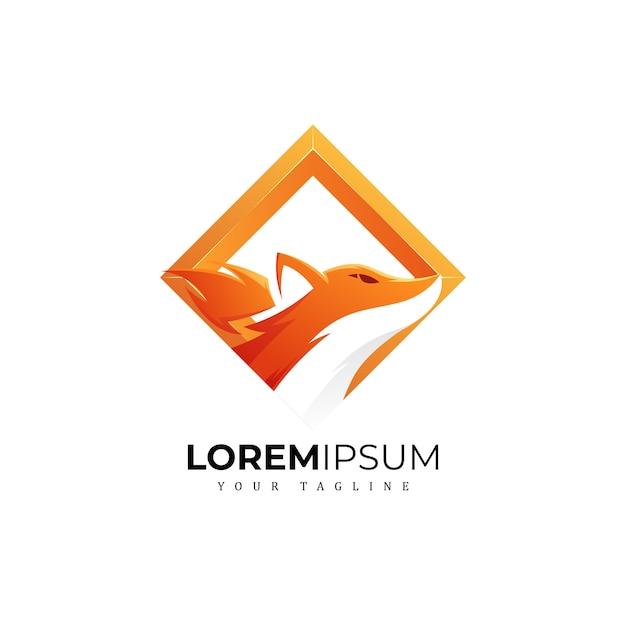 Square fox logo Premium Vector