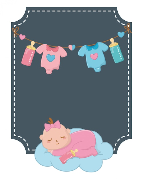 Square frame with baby sleeping illustration Premium Vector