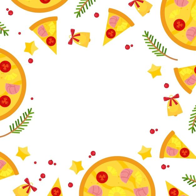 Квадратная рамка с рождественской пиццей, еловыми ветками и колокольчиками. Бесплатные векторы