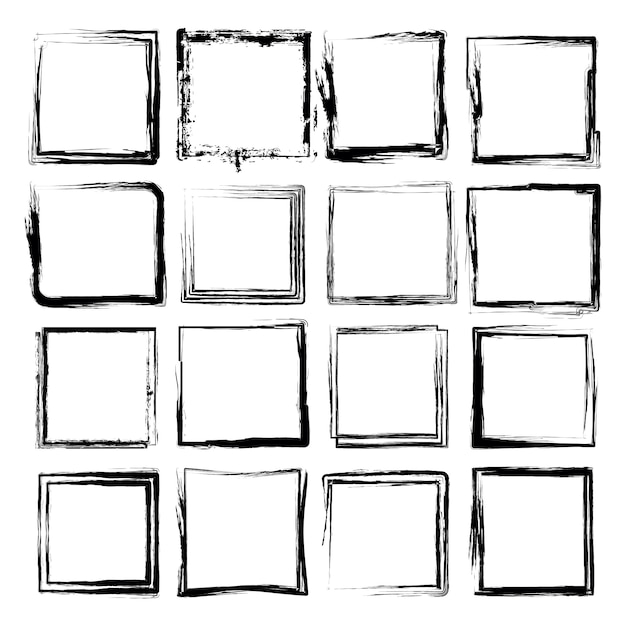 Square frame with grunge texture vector set Premium Vector