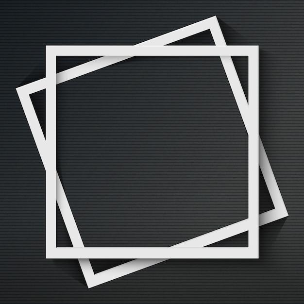 어두운 배경에 그림자와 사각형 프레임 프리미엄 벡터