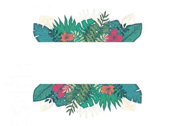 열 대 잎과 꽃으로 사각 프레임 프리미엄 벡터
