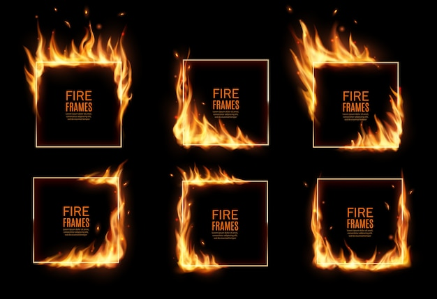 Square frames in fire,  burning borders. realistic burn flame tongues with flying particles and embers on rectangular frame edges. 3d flare. burned hoops or holes in fire,  borders set Premium Vector