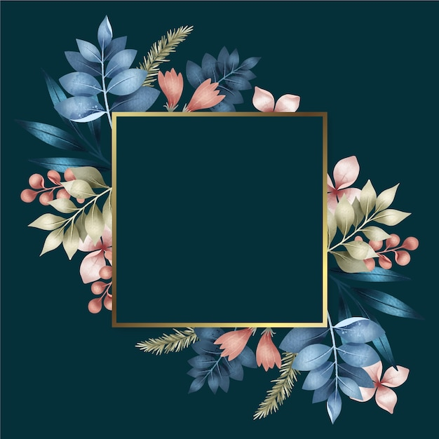 Square golden frame with winter flowers Free Vector