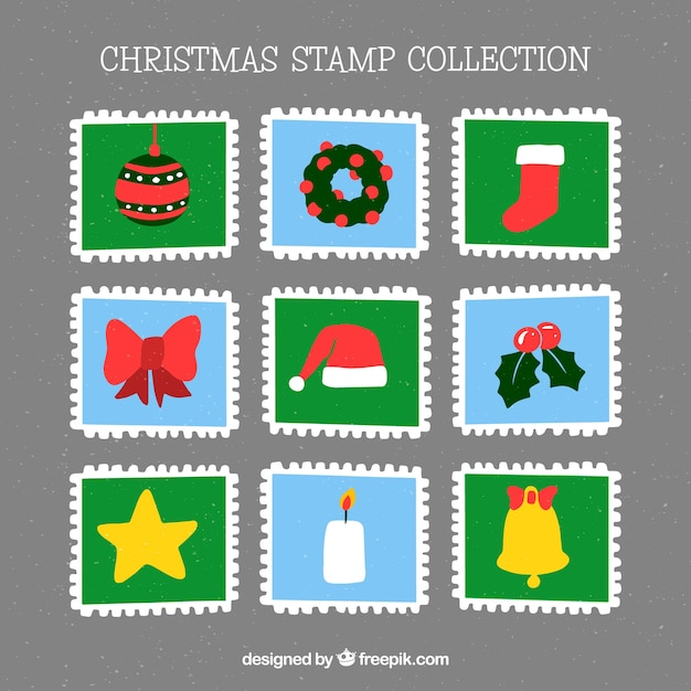 Square hand drawn christmas stamps