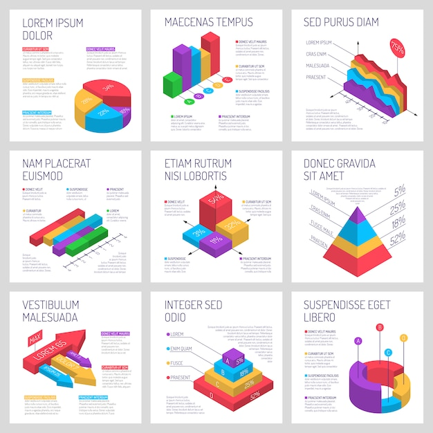 Square infographic banners set Free Vector