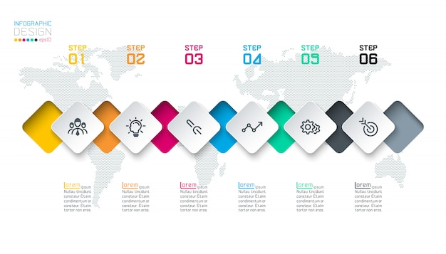 Square label infographic with 6 steps. Premium Vector