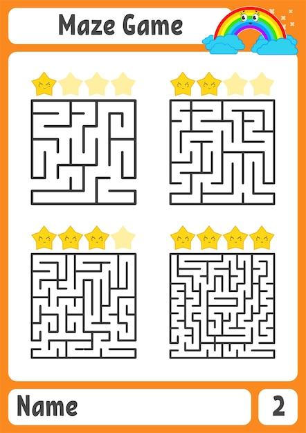 Квадратный лабиринт. игра для детей. пазл для детей. загадка лабиринта. Premium векторы