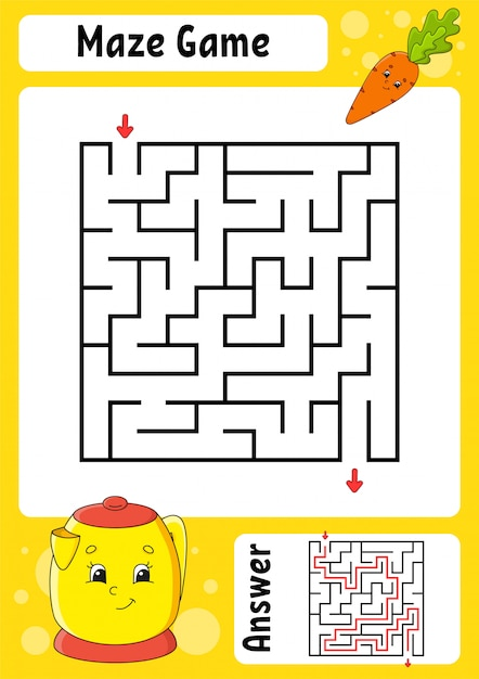 Square maze. game for kids. funny labyrinth. education developing worksheet. activity page. Premium Vector