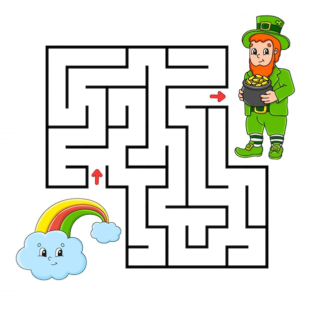 Square maze. game for kids. leprechaun and rainbow. puzzle for children. Premium Vector