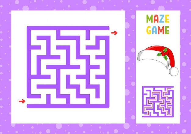 Square maze. game for kids. puzzle for children. christmas theme. Premium Vector
