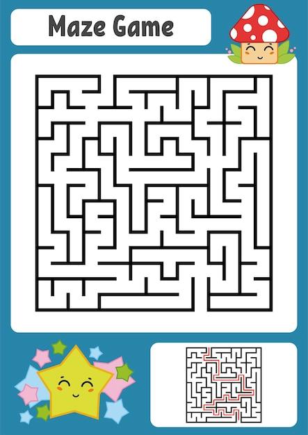 Квадратный лабиринт для детей Premium векторы