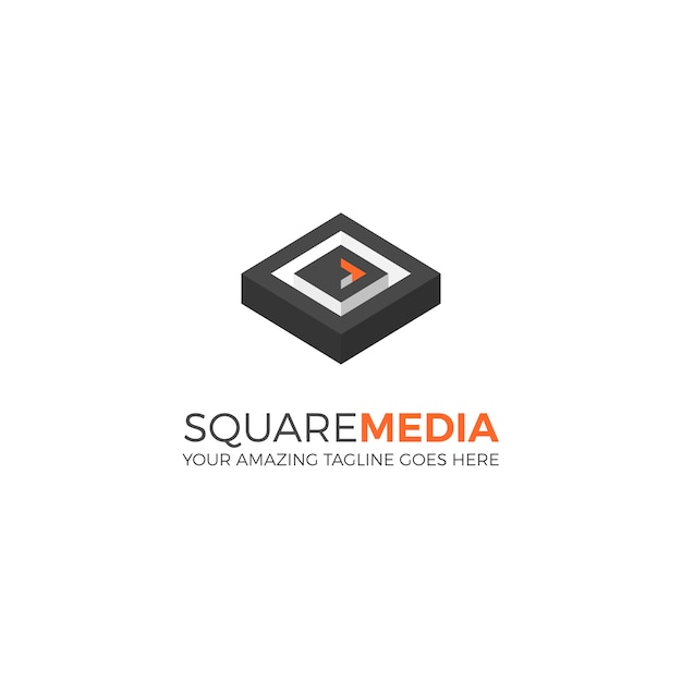 Square media logo template Free Vector