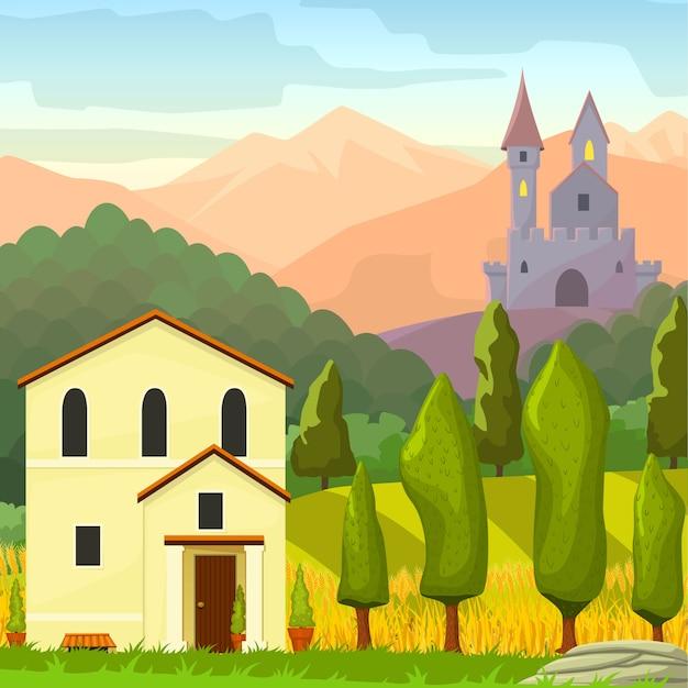 Landscape Illustration Vector Free: Square Medieval Landscape Vector Cartoon Illustration