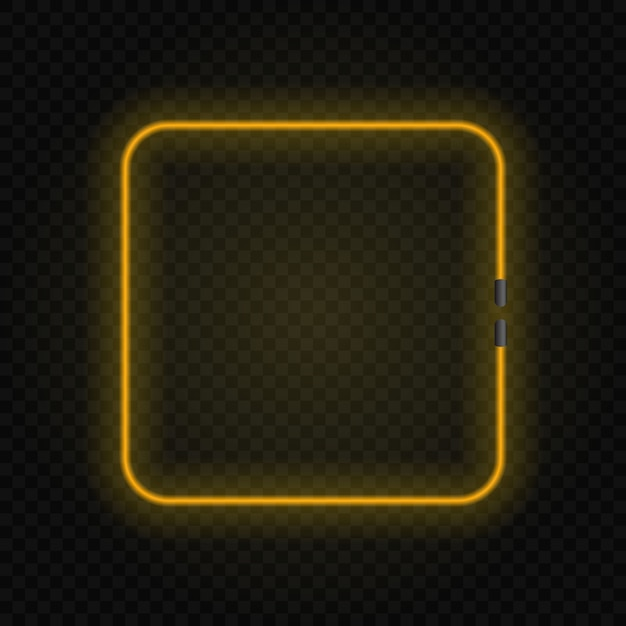 Square neon glowing lamp frame on transparent background. Premium Vector