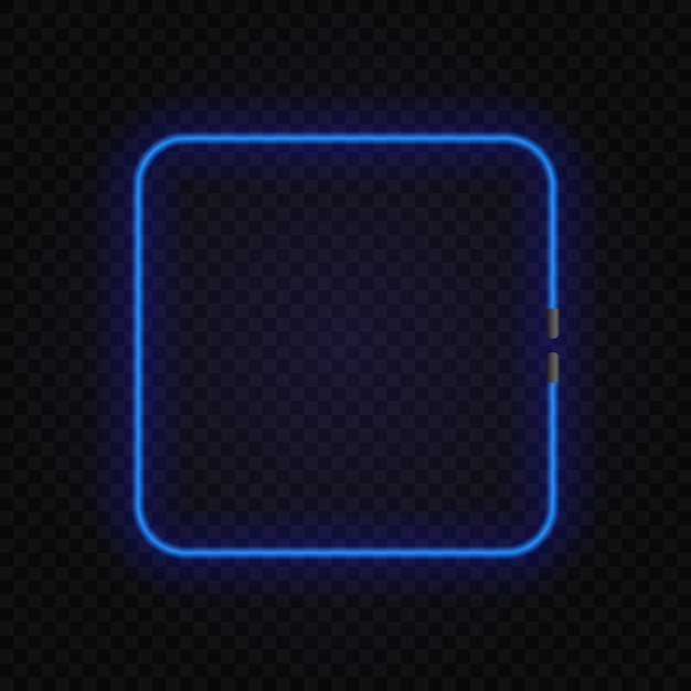 Square neon glowing lamp frame on transparent Premium Vector