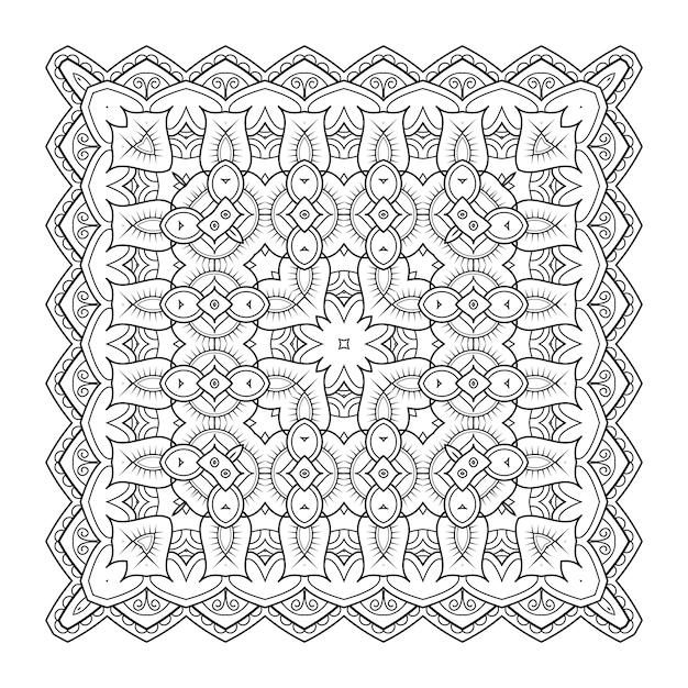 Square pattern design. original oriental design. vector monochrome illustration Premium Vector